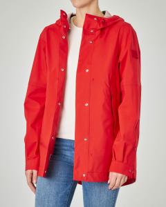 Giacca rossa impemeabile con cappuccio
