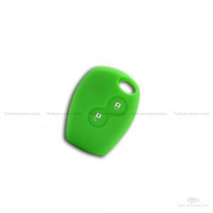 Cover Guscio Colorato Case Materiale Silicone Morbido Per Scocca Chiave Telecomando 2 Tasti Auto Dacia Logan Sandero Duster Express Vari Colori (Verde)