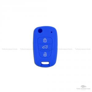 Guscio Cover In Silicone Colore Per Protezione Scocca Telecomando Chiave 3 Tre Tasti Auto Hyundai I10 I20 I30 Ix20 Ix35 Elantra Vari Colori (Blu)