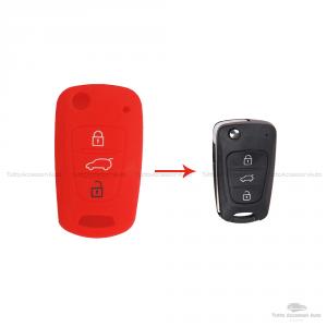 Cover Colorata Protettiva In Silicone Morbido Per Scocca Guscio Chiave 3 Tasti Pieghevole Auto Hyundai Kia Copertura Del Telecomando Disponibile In Vari Colori (Rosso)