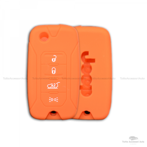 Cover Colorata Protezione In Silicone Morbido Per Scocca Guscio Chiave 3 Tasti Pieghevole Auto Jeep Renegade Cherokee Copertura Del Telecomando Disponibile In Vari Colori (Arancione)