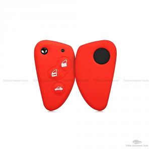 Cover Colorata Protettiva In Silicone Morbido Per Scocca Guscio Chiave 3 Tasti Pieghevole Auto Alfa Romeo Copertura Del Telecomando Disponibile In Vari Colori (Rosso)