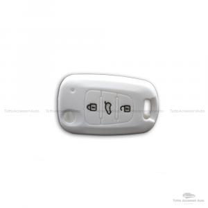 Guscio Cover In Silicone Colore Per Protezione Scocca Telecomando Chiave 3 Tre Tasti Auto Hyundai I10 I20 I30 Ix20 Ix35 Elantra Vari Colori (Bianco)