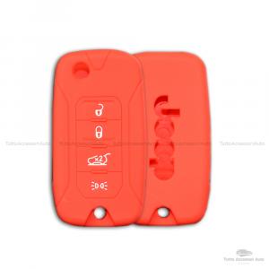 Cover Colorata Protezione In Silicone Morbido Per Scocca Guscio Chiave 3 Tasti Pieghevole Auto Jeep Renegade Cherokee Copertura Del Telecomando Disponibile In Vari Colori (Rosso)