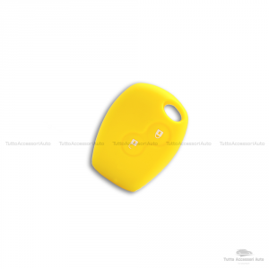Cover Guscio Colorato Case Materiale Silicone Morbido Per Scocca Chiave Telecomando 2 Tasti Autovetture Renault Clio Twingo Modus Kangoo Vari Colori (Giallo)