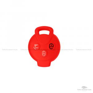 Cover Colorata Protettiva In Silicone Morbido Per Scocca Guscio Chiave 3 Tasti Pieghevole Auto Smart Fortwo 451 Forfour Roadster Copertura Del Telecomando Disponibile In Vari Colori (Rosso)