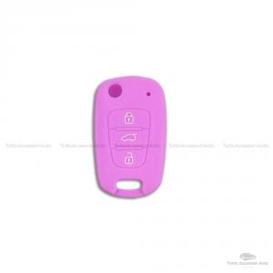 Guscio Cover In Silicone Colore Per Protezione Scocca Telecomando Chiave 3 Tre Tasti Auto Hyundai I10 I20 I30 Ix20 Ix35 Elantra Vari Colori (Viola)