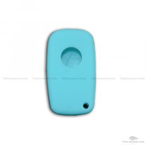 Cover Colorata Protezione In Silicone Morbido Per Scocca Guscio Chiave 3 Tasti Pieghevole Auto Fiat Grande Punto, Panda, Stilo, Bravo, Ducato, Ulysse (Turchese)
