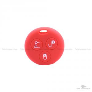 Cover Guscio Colorato Case Materiale Silicone Morbido Per Scocca Chiave Telecomando 3 Tasti Autovetture Smart 450 Fortwo Coupe' Vari Colori (Rosso)