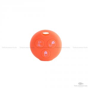 Cover Guscio Colorato Case Materiale Silicone Morbido Per Scocca Chiave Telecomando 3 Tasti Autovetture Smart 450 Fortwo Coupe' Vari Colori (Arancio)