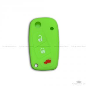 Cover Colorata Protezione In Silicone Morbido Per Scocca Guscio Chiave 3 Tasti Pieghevole Auto Fiat Grande Punto, Panda, Stilo, Bravo, Ducato, Ulysse (Verde Fluo)