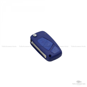 Cover Colorata Protezione In Silicone Morbido Per Scocca Guscio Chiave 3 Tasti Pieghevole Auto Fiat Grande Punto, Panda, Stilo, Bravo, Ducato, Ulysse (Blu)