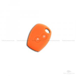 Cover Guscio Colorato Case Materiale Silicone Morbido Per Scocca Chiave Telecomando 2 Tasti Auto Dacia Logan Sandero Duster Express Vari Colori (Arancio)