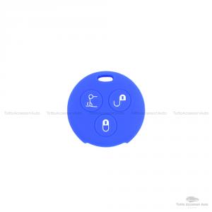 Cover Guscio Colorato Case Materiale Silicone Morbido Per Scocca Chiave Telecomando 3 Tasti Autovetture Smart 450 Fortwo Coupe' Vari Colori (Blu)