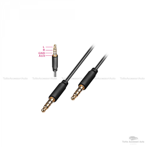Cavo Audio Aux Doppio Jack Maschio 3,5Mm Rivestimento Gomma Connettori Dorati In Alluminio Per Connettere Smartphone (Iphone, Samsung, Huawei) Mp3 Tablet Pc Cuffie Audio Autoradio Tv (Nero)