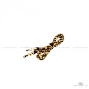 Cavo Aux Mini Iso Jack Femmina 3,5Mm Per Fiat Alfa Iveco Autoradio Delphi Grunding (No Source Available) Blaupunkt Continental + Cavo Nylon Besync Colore Oro (Gold)