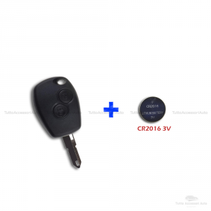 Guscio Scocca + Lama + Batteria Per Telecomando Chiave 2 Tasti Dacia Logan Duster Express Sandero