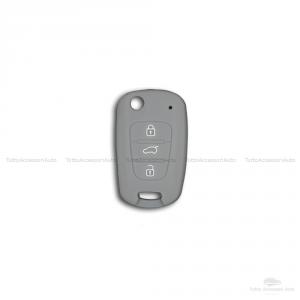 Scocca E Lama + Guscio Cover In Silicone Per Chiave Telecomando Chiave 3 Tre Tasti Auto Hyundai I10 I20 I30 Ix20 Ix35 Elantra (Grigio)