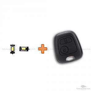 Cover Guscio Scocca 2 Tasti Telecomando Toyota Aygo - Citroen C1 C2 C3 C4 - Peugeot 107 207 307 + Due Micro Pulsanti No Trasponder No Elettronica