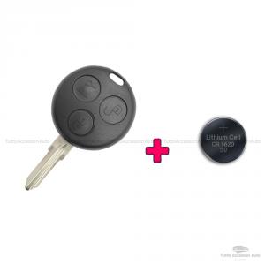 Kit Chiave + Batteria Cr1620 Cover Guscio Scocca E Lama Per Telecomando 3 Tasti Autovetture Smart Fortwo 450 Compatibile No Logo No Trasponder No Elettronica Guscio + Lama + Batteria