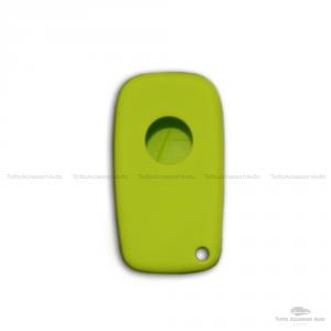 Cover Colorata Protezione In Silicone Morbido Per Scocca Guscio Chiave 3 Tasti Pieghevole Auto Fiat Grande Punto, Panda, Stilo, Bravo, Ducato, Ulysse (Verde)