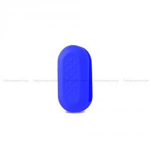 Cover Colorata Protezione In Silicone Morbido Per Scocca Guscio Chiave 3 Tasti Pieghevole Auto Fiat 500 (Blu)