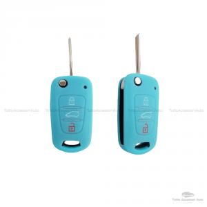 Cover Colorata Protettiva In Silicone Morbido Per Scocca Guscio Chiave 3 Tasti Pieghevole Auto Hyundai Kia Copertura Del Telecomando Disponibile In Vari Colori (Turchese)