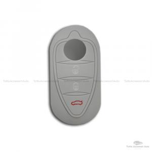 Cover Colorata Protezione In Silicone Morbido Per Scocca Guscio Chiave 3 Tasti Pieghevole Auto Alfa Romeo Mito Giulietta (Grigio)