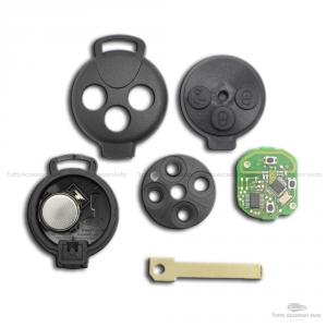 Chiave Guscio Cover Telecomando 3 Tasti Per Smart Fortwo 450 451 Forfour Roadster Con Chip Transponder Lama E Batteria