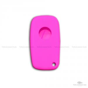 Cover Colorata Protezione In Silicone Morbido Per Scocca Guscio Chiave 3 Tasti Pieghevole Auto Fiat Grande Punto, Panda, Stilo, Bravo, Ducato, Ulysse (Fucsia)