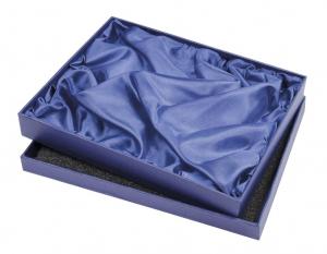 Scatola in cartoncino blu con raso cm.22x27x3h
