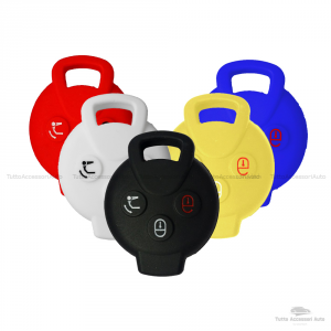 Cover Colorata Protettiva In Silicone Morbido Per Scocca Guscio Chiave 3 Tasti Pieghevole Auto Smart Fortwo 451 Forfour Roadster Copertura Del Telecomando Disponibile In Vari Colori (Nero)