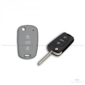 Guscio Cover In Silicone Per Protezione Scocca Telecomando Chiave 3 Tre Tasti Auto Hyundai I10 I20 I30 Ix20 Ix35 Elantra (Grigio)