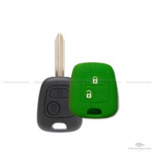 Cover Guscio Colorato Materiale Silicone Morbido Per Scocca Chiave 2 Tasti Auto Toyota Aygo In 10 Fantastici Colori (Verde)