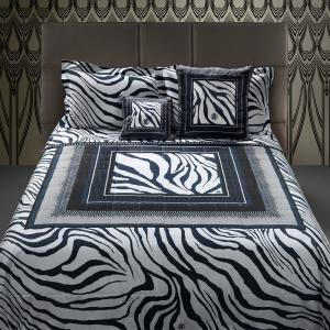 Roberto Cavalli set of double sheets in cotton satin FRAME ZEBRAGE blue