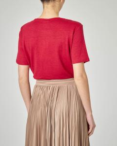 T-shirt rossa in lino a maniche corte