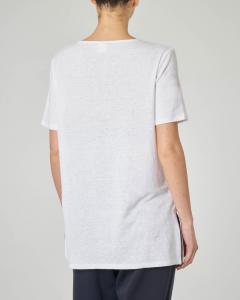 T-shirt bianca in lino a maniche corte