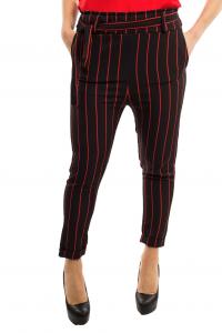 Pantalone morbido rigato con fiocco - colore nero/rosso