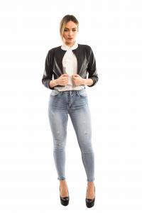 Jeans vita alta push-up graffiato