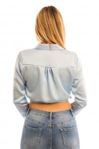 Camicia corta con bottoni e fiocco - colore Celeste