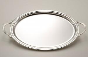 Vassoio ovale placcato argento con manici stile Inglese cm.30x22