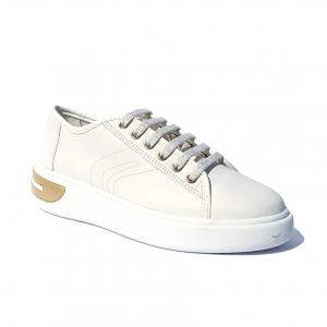 Sneaker bianca con dettaglio oro Geox