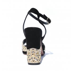 Sandalo elegante nero con strass Elata