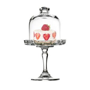 Alzata pasticceria in vetro per dolci e frutta con campana in vetro cm.19,8h diam.11