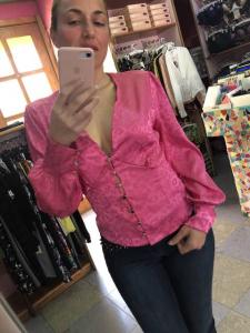 Camicia in raso maculato con bottoni 4 colori