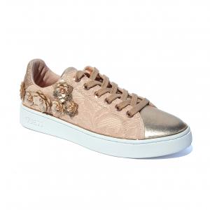 Sneaker rose con fiori Guess