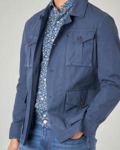 Field jacket blu in ripstop