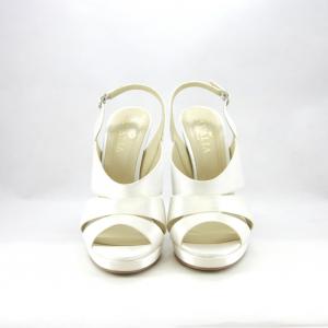 Sandalo sposa in raso con plateau e tacco alto mod. Rita.