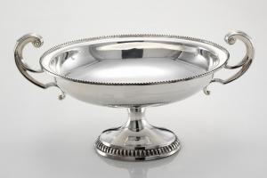 Alzata ovale con manici placcata argento in sheffield stile liberty cm.41x24x21h