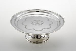 Alzatina per dolci con incisione argentato argento sheffield cm.9h diam.22
